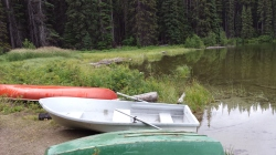 Five boats were parked on shore at the lake