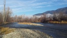 Side channels and gravel bars are good places to look for fish.